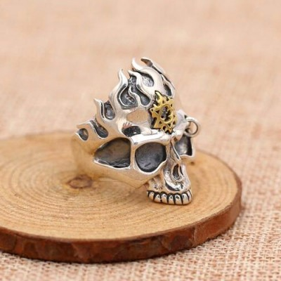 Men's Sterling Silver Flame Skull Ring