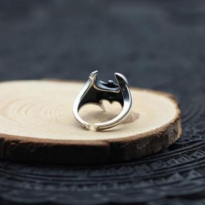 Men's Sterling Silver Bat Wrap Ring