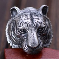 Men's Sterling Silver Tiger Head Ring