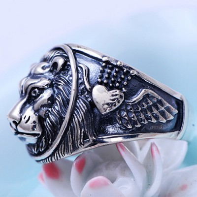 Men's Sterling Silver Lion Ring