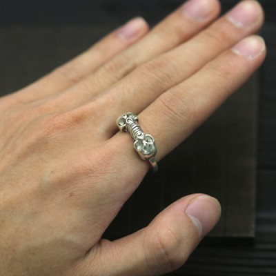Men's Sterling Silver Twin Skulls Wrap Ring