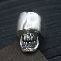 Men's Sterling Silver Eyeless Skull Wrap Ring