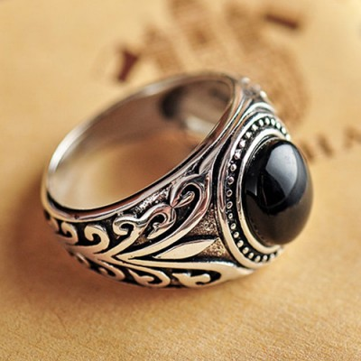 Men's Sterling Silver Black Onyx Ring