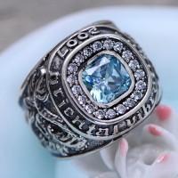 Men's Sterling Silver Topaz Ring