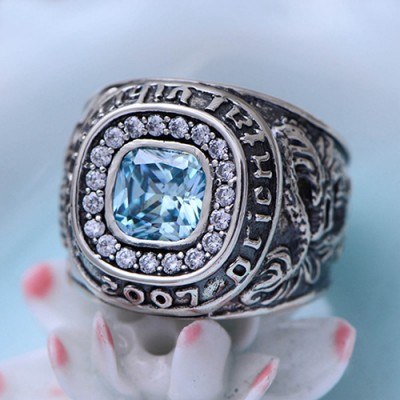 Men's Sterling Silver Topaz Ring
