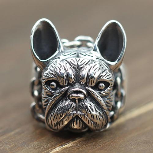 Men's Sterling Silver Bulldog Ring