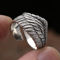 Men's Sterling Silver Eagle Wing Wrap Ring