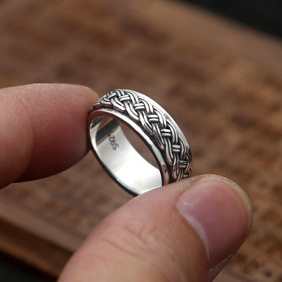 Men's Sterling Silver Braided Spinner Ring