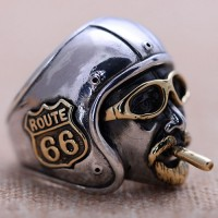 Men's Sterling Silver Route 66 Biker Ring