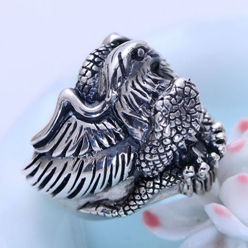 Men's Sterling Silver Eagle and Snake Ring