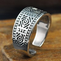 Men's Sterling Silver Oriental Totem Wrap Ring