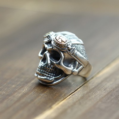 Men's Sterling Silver Pilot Skull Ring