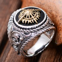 Men's Sterling Silver Golden Cross Ring
