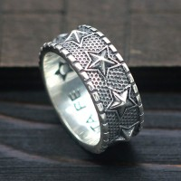 Men's Sterling Silver Stars Band Ring