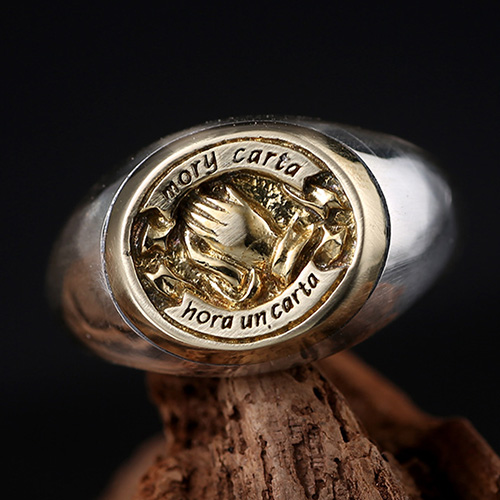 Men's Sterling Silver Praying Hands Ring