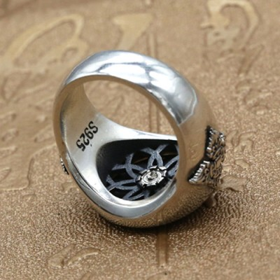 Men's Sterling Silver Six True Words Mantra Spinner Ring