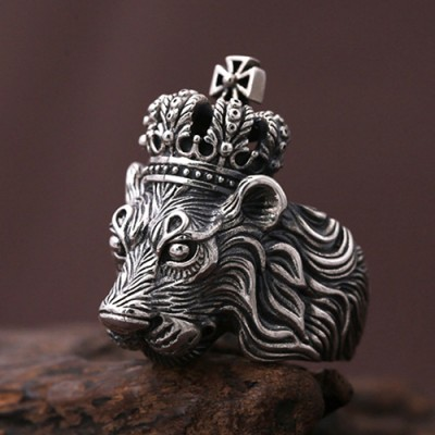 Men's Sterling Silver Lion King Ring