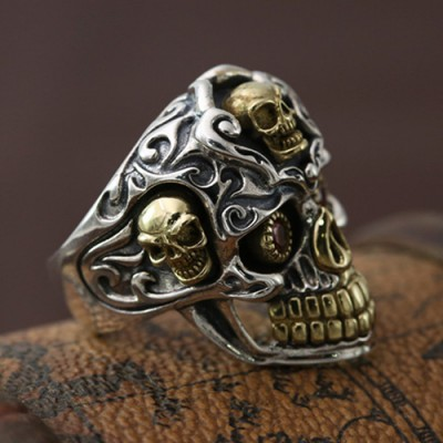 Men's Sterling Silver Red Eyes Skull Ring
