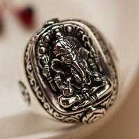 Men's Sterling Silver Ganesha Ring