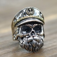 Men's Sterling Silver Old Captain Skull Ring