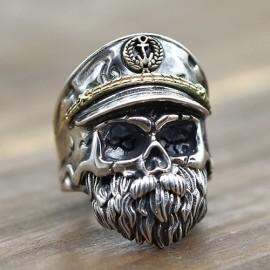 Men's Sterling Silver Old Captain Skull Ring