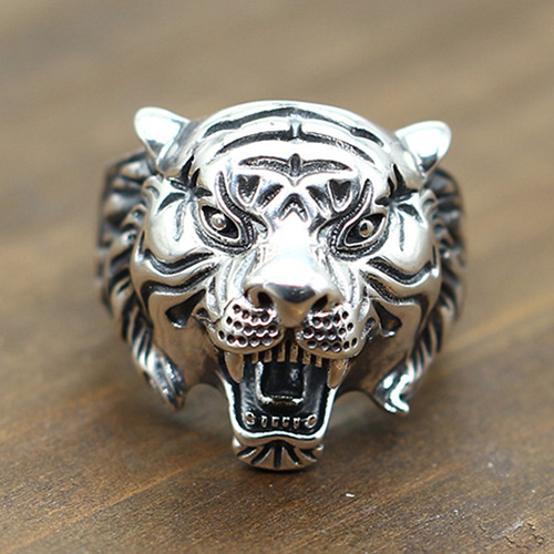 Men's Sterling Silver Roaring Tiger Ring