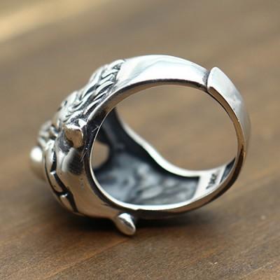 Men's Sterling Silver Roaring Tiger Ring