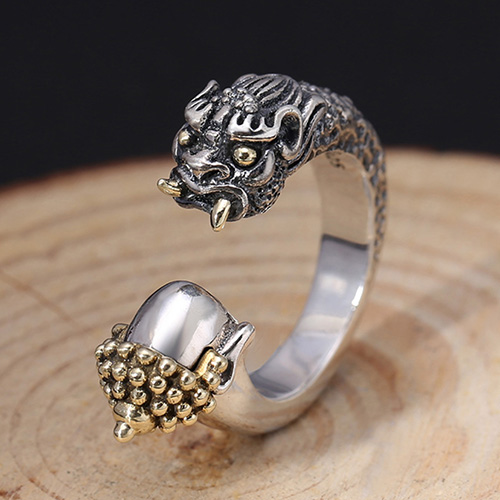Men's Sterling Silver Buddha and Devil Ring