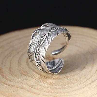 Men's Sterling Silver Ivy Feather Wrap Ring