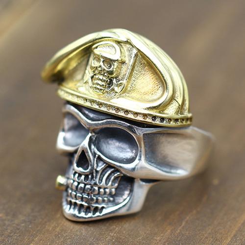 Men's Sterling Silver Beret Skull Ring