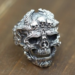 Men's Sterling Silver Dragon Skull Ring