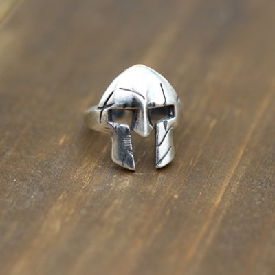 Men's Sterling Silver Spartan Mask Ring