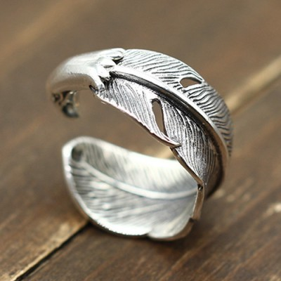 Men's Sterling Silver Eagle Feather Wrap Ring
