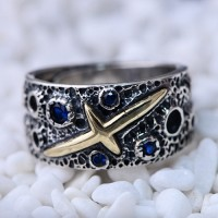 Men's Sterling Silver Starry Sky Wrap Ring