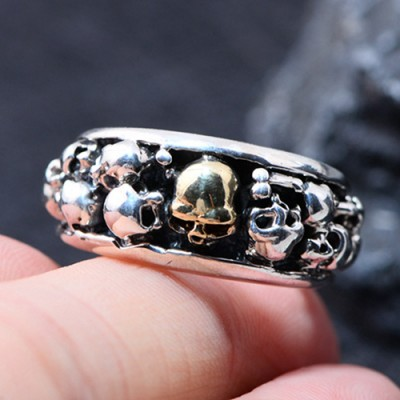 Men's Sterling Silver Skulls Ring
