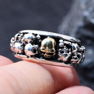 Men's Sterling Silver Skulls Ring
