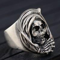 Men's Sterling Silver Skull Wrap Ring