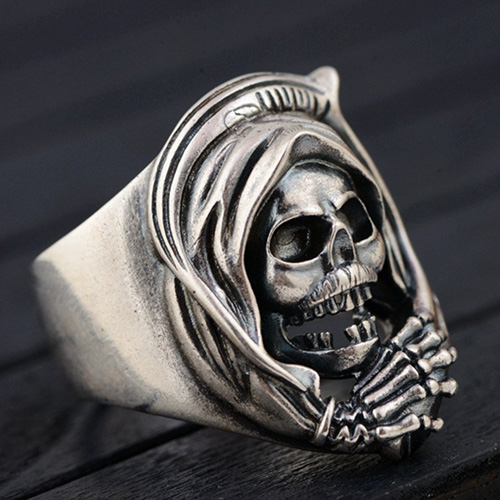 Men's Sterling Silver Skull Wrap Ring