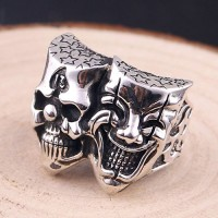 Men's Sterling Silver Double Skulls Ring