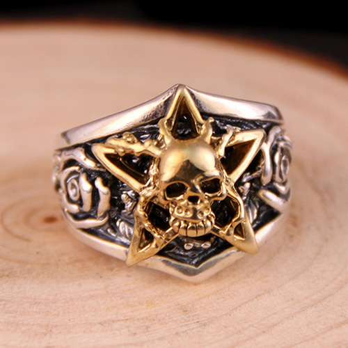 Men's Sterling Silver Rose Skull Ring