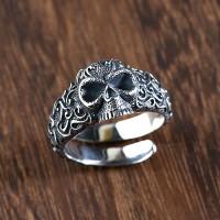 Men's Sterling Silver Ivy Pattern Skull Ring