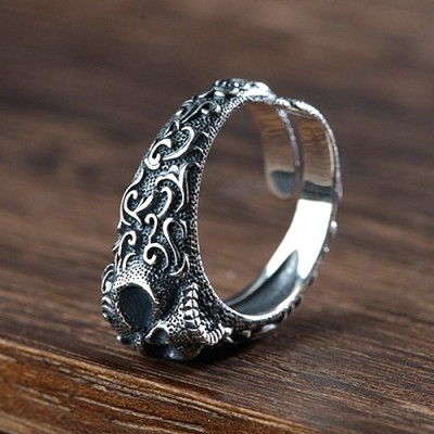Men's Sterling Silver Ivy Pattern Skull Ring