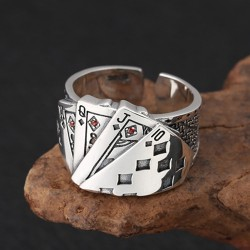 Men's Sterling Silver Straight Flush Ring