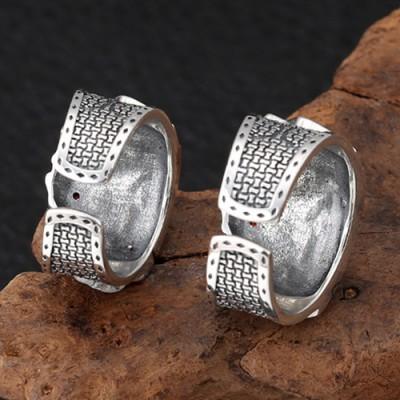 Men's Sterling Silver Straight Flush Ring