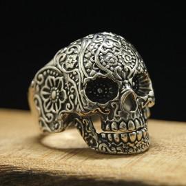 Men's Sterling Silver Flower Pattern Skull Ring