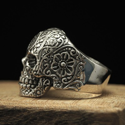 Men's Sterling Silver Flower Pattern Skull Ring