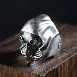 Men's Sterling Silver Mechanic Bird Skull Ring