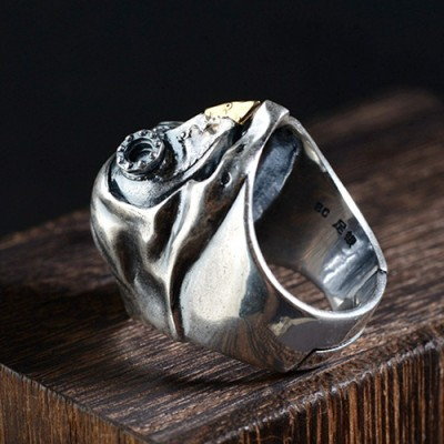 Men's Sterling Silver Mechanic Bird Skull Ring