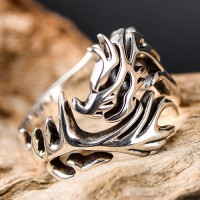 Men's Sterling Silver Dragon Wrap Ring