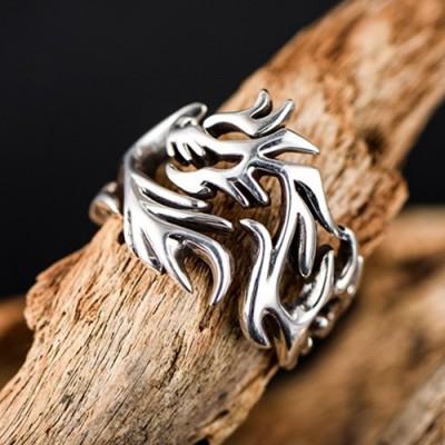 Men's Sterling Silver Dragon Wrap Ring